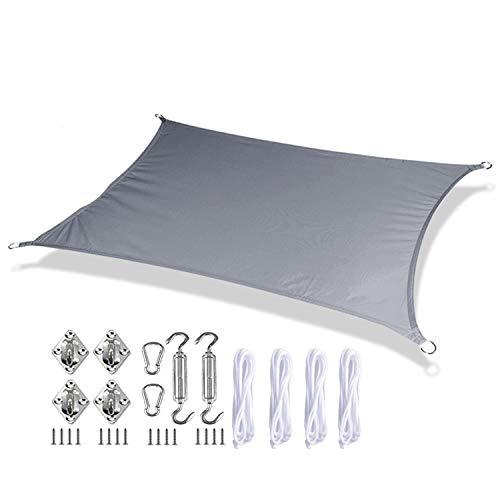 Toldo De Vela para Sombrilla De Jardín Bloque UV Impermeable,Vela De Sombra Solar Pabellón Pantalla De Tela para Toldo -Cochera Al Aire Libre del Patio,con 4 Cuerdas Y Accesorios,2×4m