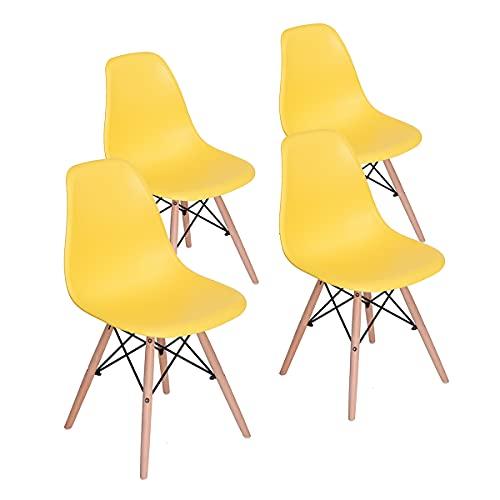 HOMEMAKE FURNITURE Juego de 4 sillas de comedor de estilo moderno premontadas Silla de Eames moderna de mediados de siglo, silla de plástico Shell Lounge para cocina, comedor, dormitorio, sillas de salón. Amarillo