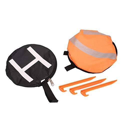Mavic Fester Nagel, 55 cm schnell faltbares Landeplatz Universal-FPV-Drohnen-Parkschürze Faltbares Pad für DJI Spark Pro FPV-Renndrohnen-Zubehör (Orange & Schwarz)