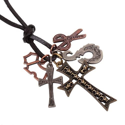 Bosi General Merchandise Collar de Cruz, Colgante de Cuero Retro, joyería Religiosa, Regalo Creativo, colección