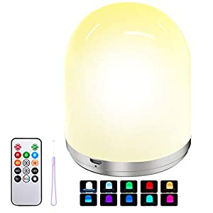 LED Nursery Night Light for Kids, Warm White & RGB Color Changing Dimmable Lamp, Rechargeable Night Light with Remote Control for Kids Baby Bedroom Table Living Office by PeakPlus