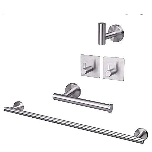 TocTen - SUS304 Juego de 5 piezas de accesorios de baño, acero inoxidable grueso que incluye barra de toalla de mano de 41 cm + soporte de papel higiénico + 3 ganchos para...