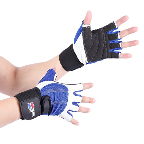 2-in-1 Premium Leather Weightlifting Gloves with 12' Integrated Wrist Support Double-Stitched for Men and Women (Blue/White, Large)