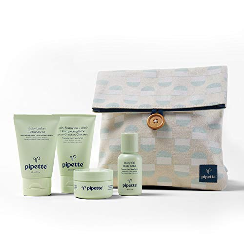 Pipette Baby Wash and Moisturize Travel Kit with Renewable Plant-Based Squalane (5-Piece Set)