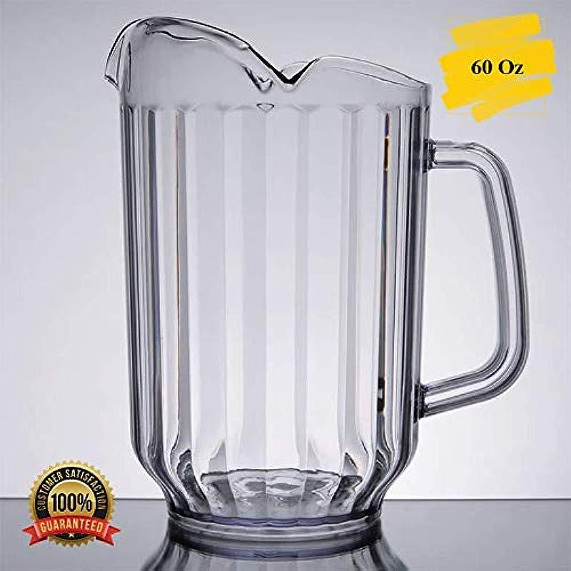 MM Foodservice 60 Oz Break Resistant Clear Plastic Beverage Pitcher With 3 Spouts