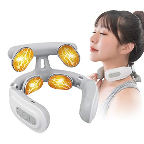 Fuhaieec Nackenmassagegerät,Intelligentes tragbares elektromagnetisches Impuls-Nackenmassagegerät mit kabelloser Heizfunktion,Nackenentspannung zur Schmerzlinderung mit 3 Modi,Massage zu Hause(Weiß)