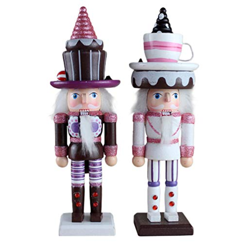 Toddmomy 2Pcs Christmas Nutcracker Ornaments Mini Soldier Figurines King Puppets Figures Dolls Cake Topper for Christmas Tree Ornaments Birthday Gift 25CM (White Brown)