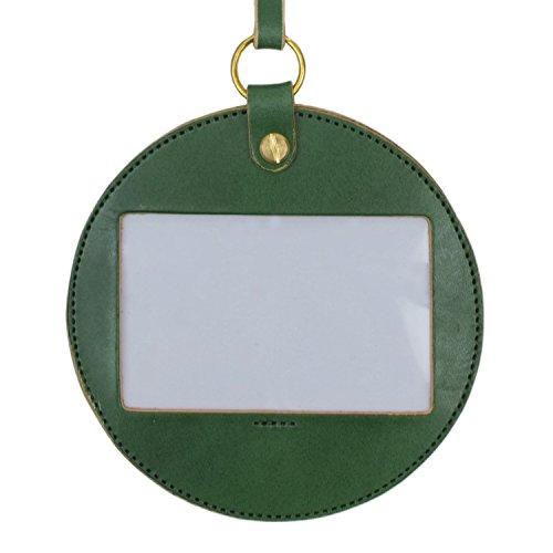 名入れ 刻印付き ヌメ革 丸型 IDケース ネームホルダー パスケース ネックストラップ レザー メッセージ 真鍮 ギフト (グリーン)