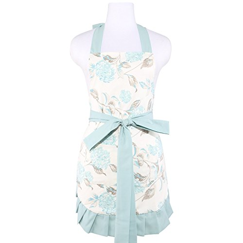 NEOVIVA Cooking Apron for Women with Pockets, Double-layered Bib Apron for Cooking, Baking, BBQ and Gardening, Style Kathy, Floral Hydrangea Clear Aqua