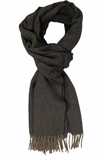 Rotfuchs Echarpe Webschal à chevrons tendance marron noir 100% laine (Mérinos) R-74