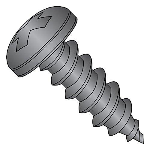 18-8不锈钢板金属螺丝,黑色氧化物饰面,锅头,菲利普斯驱动,型号,#8-15螺纹尺寸,5/8