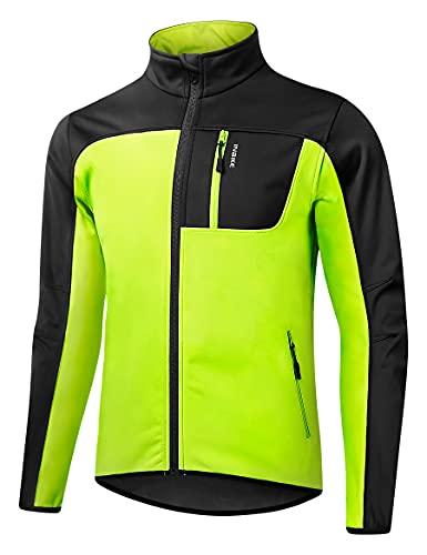 INBIKE Giacca a Vento Donna Uomo Primavera Invernale Abbigliamento Ciclismo Trekking Running Antipioggia Impermeabile Verde XL
