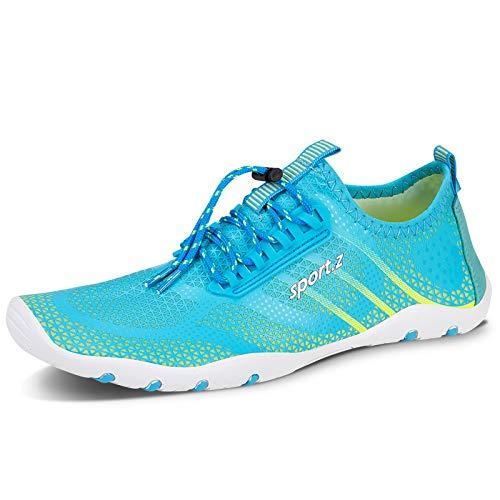 Zapatos de Agua Hombre Mujer Antideslizante Natación de Secado Rápido Playa Surf Ciclismo Zapatos (V004 Azul, 42EU)