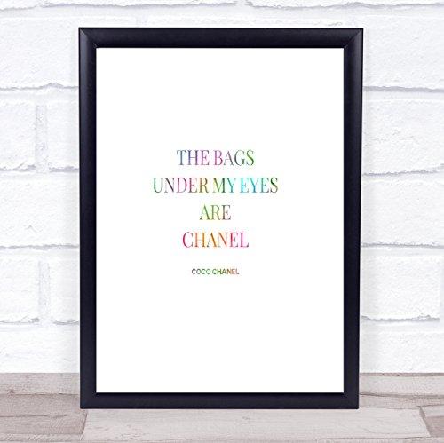 Coco Chanel Tassen Onder Mijn Ogen Regenboog Citaat Print Medium A4