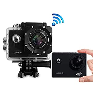 Action Camera 1080P 12MP Ultra Full HD WiFi Sports Camera Waterproof Underwater 30m/98ft Action Cam 140° Degree Wide-Angle Lens Sports Cam 980mAh Rechargeable Battery with 2.0 Inch Screen