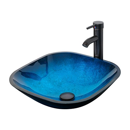 eclife 16.5' Ocean Blue Square Bathroom Sink Artistic Tempered Glass Vessel Sink Combo with Oil Rubber Bronze Faucet and Pop up drain Bathroom Bowl A04 (Square Ocean Blue)