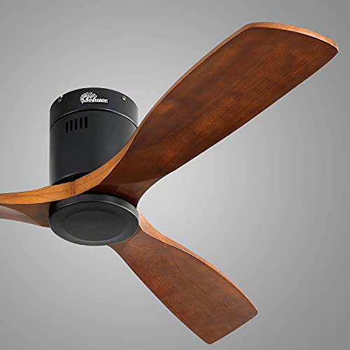 Sofucor Low Profile Ceiling Fan DC 3 Carved Wood Fan Blade Noiseless Reversible Motor Remote Control Without Light (52'Ceiling Fan Without Lights) (Renewed)