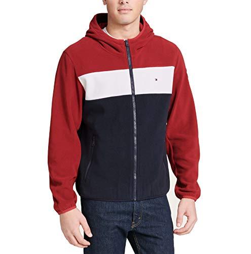 Tommy Hilfiger Herren Hooded Performance Fleece Jacket Fleecejacke, Rot/EIS/Marineblau, XX-Large
