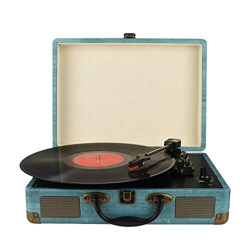 3-Gang-Portable -Bluetooth Plattenspieler mit eingebauten Lautsprechern, Stützen Bluetooth, RCA-Ausgang, 3,5 mm Aux-In and Kopfhöreranschluss and MP3, Mobiltelefone Musikwiedergabe