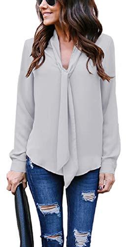 Heekpek Camisa Lisa Manga Larga Blusa Escote V Mujer