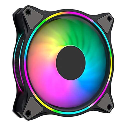 wendeekun Ventilador de enfriamiento de Caja de PC de 120 mm, Ventiladores de enfriamiento de chasis RGB Ultra silenciosos, Efecto de iluminación RGB para Accesorios(MF120 Halo Negro)