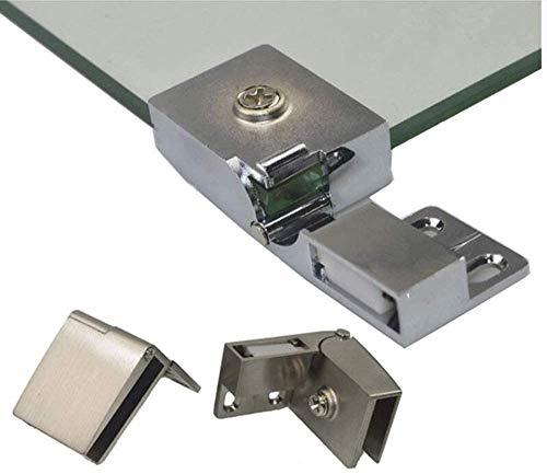 1 par / bisagra para vitrina de puerta de vidrio sin marco para bodega Armario de puerta lateral de vidrio integrado Níquel cepillado