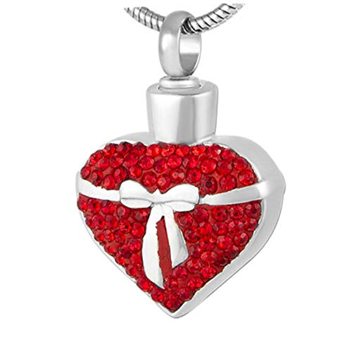 GenericBrands Collar de urna Conmemorativa de corazón de Cristal Rojo de Acero Inoxidable, ataúd funerario de Recuerdo de Cenizas de cremación