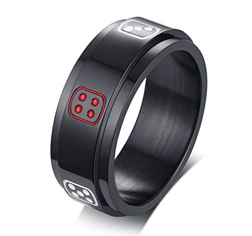 VNOX 8MM Black Stainless Steel Dice Number Spins Spinner Rotated Band Lucky Ring for Men,Size N 1/2
