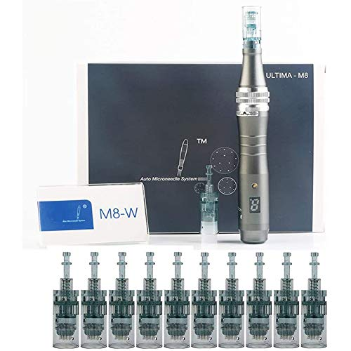 WRQ Dermapen Eléctricos Profesional Microagujas 0.25Mm-2.0Mm Ajustable, Incluir 2Pcs 16 Aguja,Anti Envejecimiento...
