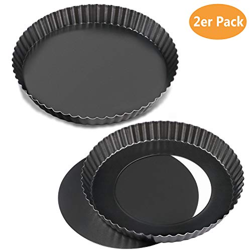 WisFox 2 Pack Non-Sticks 8,8 Zoll Quiche Tart Pfanne, abnehmbare Loose Bottom Tart Pie Pan, Runde Tart Quiche Pfanne mit abnehmbaren Basis