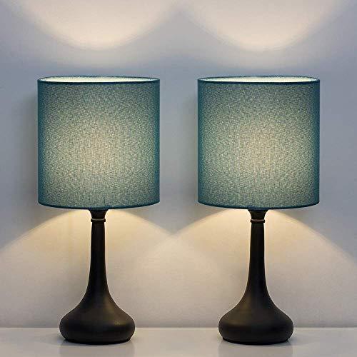 Lámpara de mesa – Juego de 2 lámparas de mesita de noche, lámpara de escritorio moderna con pie de metal y pantalla de tela, para dormitorio, salón, oficina, color azul