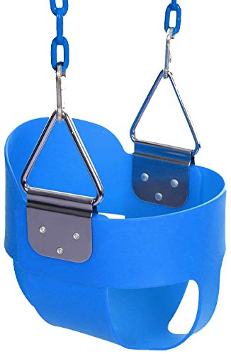 FUNMILY Toddler Swing Seat, High Back Full Bucket Swing with 60 inch Plastic Coated Swing Chains & 2 Snap Hooks Fully Assembled Swing Set (Blue)
