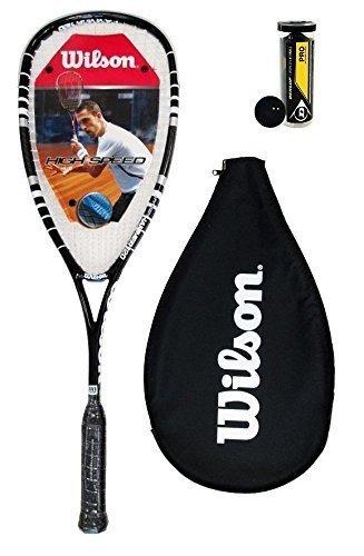 wilson Hyper Marteau 120 PH Squash RAQUETTE + 3 Dunlop Squash balles - NOIR + 3 Pro balles