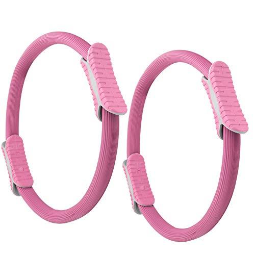 Anillo de Pilates, Anillo de Yoga, Rueda de Resistencia de Gimnasio, para Prácticas de Pilates y Yoga Anillo de Accesorios de Pilates, 2 Piezas Resistente al Desgaste para(Pink)