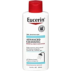 commercial Euselin Advanced Cleansing Body  Face Cleaner-Dry, Sensitive, Odorless, Soap-Free … eucerin for acne