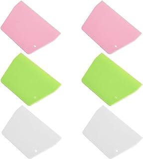 Opopark 6 Piezas Raspador de Masa, Cortador de Masa de Plástico Seguro Raspador de Plástico Flexible Torta de Masa de Pan Raspador de Alimentos
