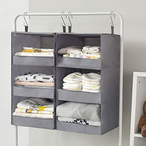 "GRANNY SAYS Two 3-Shelf Hanging Closet Organizers, Collapsible Closet Hanging Shelves, Nursery Hanging Organizers, Fog Gray, 23.6"" H X 12.2"" W X 12.2"" D"