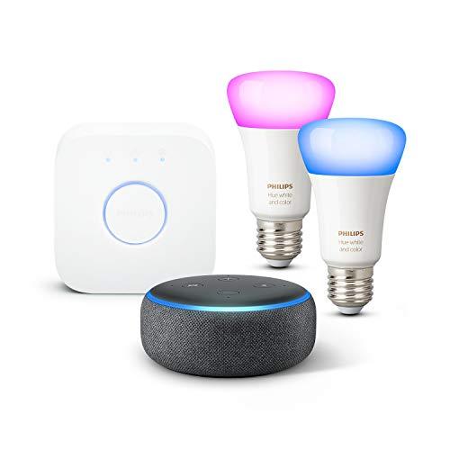 Echo Dot (3.ª generación), Tela de color antracita + Philips Hue Bombilla Inteligente Starter Kit (2x E27), compatible con Alexa