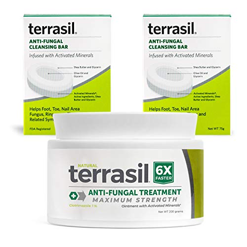 Terrasil Anti-fungal Treatment Max 200gm with Anti-fungal Cleansing Soap 2-Pack Kit - 6X Faster Relief, Natural Soothing Clotrimazole OTC-Registered