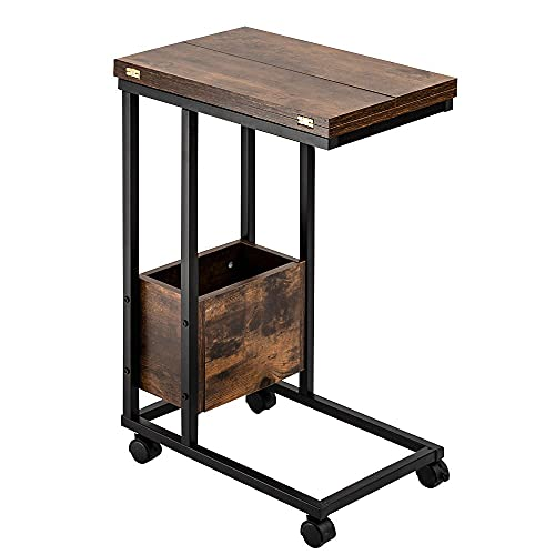 Sofa Side Table, Foldable End Table with Storage Basket, C Shaped Table with Wheels for Living Room Bedroom Small Spaces, Rustic Brown