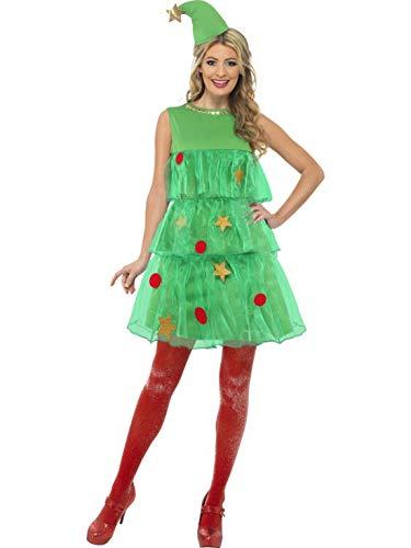 costumebakery - Disfraz de árbol de Navidad para Mujer, diseño de escalones, con Gorro, Navidad, Carnaval y...