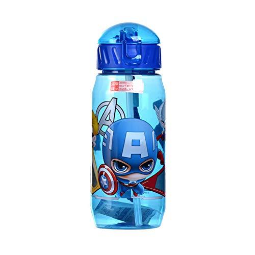 SHOPFF Sportflasche Umweltfreundliche Kinder Trinken Cartoon Wasserflaschen Bpa Frei Tritan Stroh Kinder Flasche Kinder Wasserkocher Tragbare Sportflasche, Blau