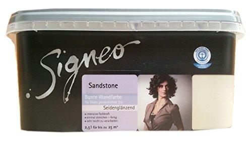 Signeo 2,5 L. Bunte Wandfarbe, SANDSTONE, Hellbraun seidenglänzend, elegant-schimmernde Oberflächen, Innenfarbe