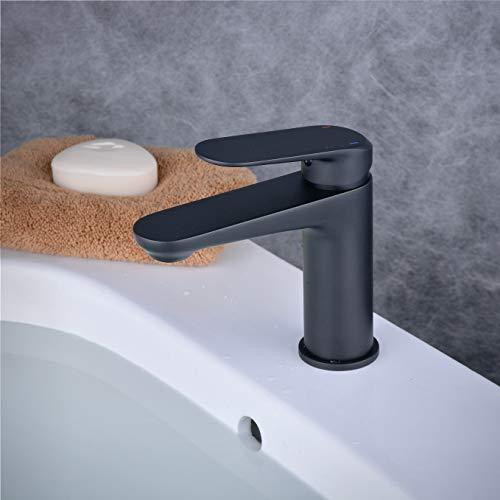 Badezimmer Waschtischarmatur Mischbatterie Einhebel Wasserhahn Matt-schwarz Waschbecken Armatur, Beelee BL6697B
