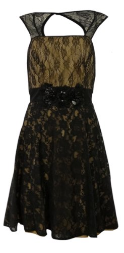 Betsy & Adam Women's Beaded Illusion Lace Overlay Dress (10, Black/Nude)