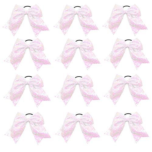 "Oaoleer 12PCS 7"" Large Glitter Cheer Hair Bows Ponytail Holder Elastic Band Handmade for Cheerleading Teen Girls College Sports (White)"