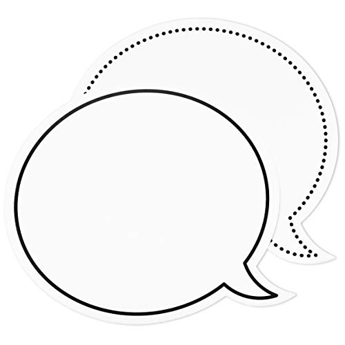 Dry Erase Speech Bubble Cutouts for Bulletin Boards (9 x 8 Inches, 48-Pack)