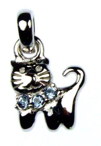Bambino ciondolo a forma di gattino con catene collana Swarovski-ceramica blu