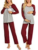 Ekouaer Womens Maternity Nursing Pajama Set Long Sleeve Breastfeeding Pajamas Hospital Sleepwear (Wine Red L)