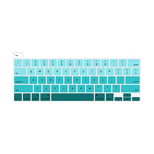 Fadegreen Keyboard Cover for Macbook Pro 16 Inch 2019 Touch Bar and Touch Id A2141 Rainbow Colour Silicone English Keyboard Skin